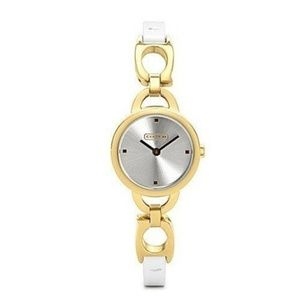 """COACH """"KRISTIN"""" WATCH - GOLD PLATED/WHITE PATENT"""